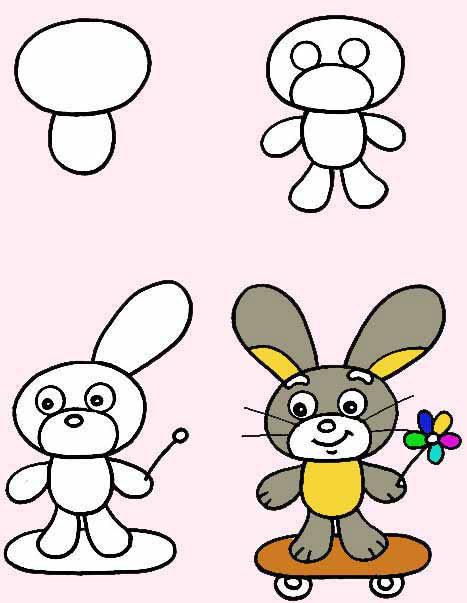 Пятнице, нарисовать смешного зайца легко