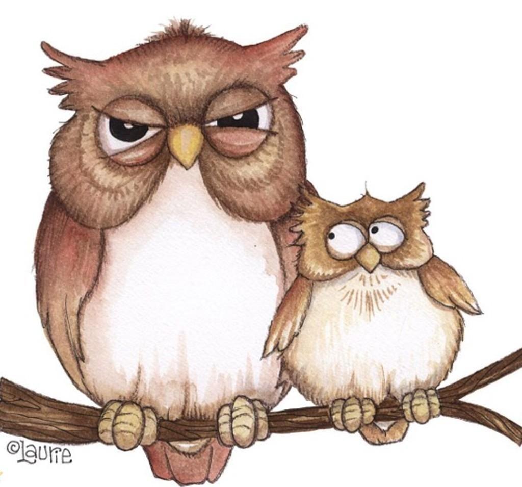 Смешная сова рисунок для детей