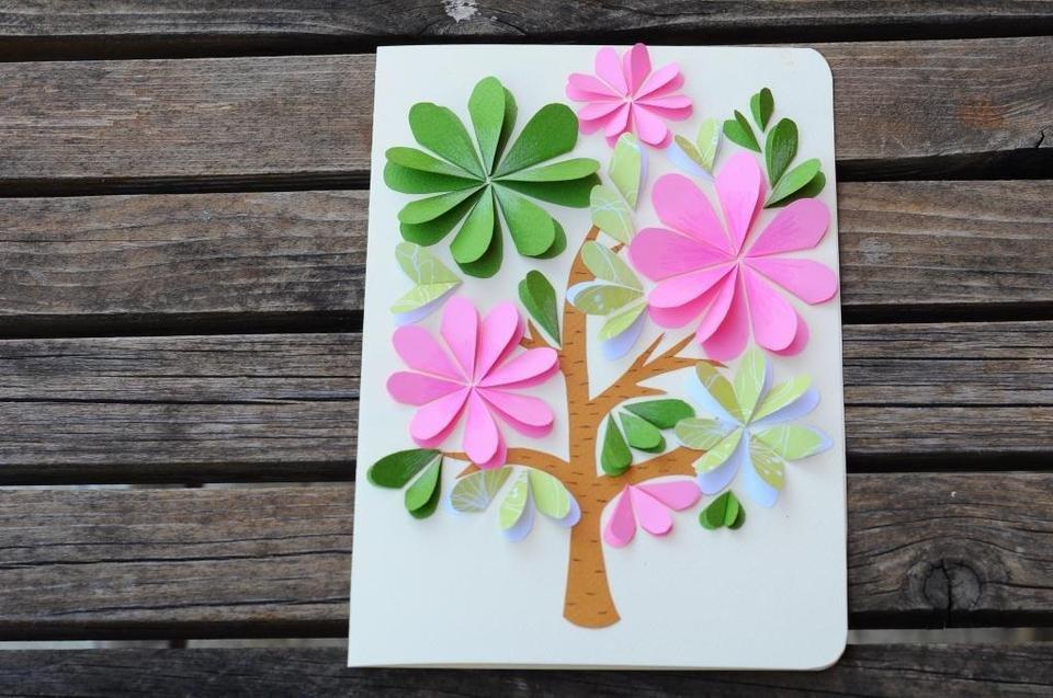 Объемные цветы на открытку своими руками