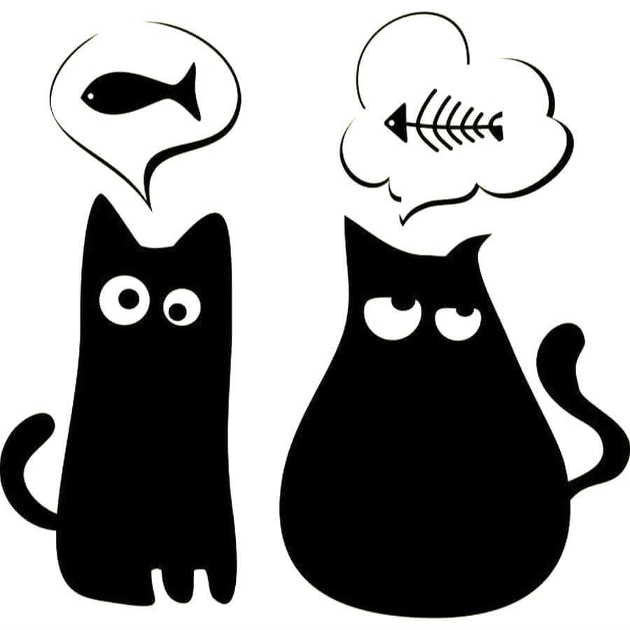 прикольные черно-белые рисунки кошек белого