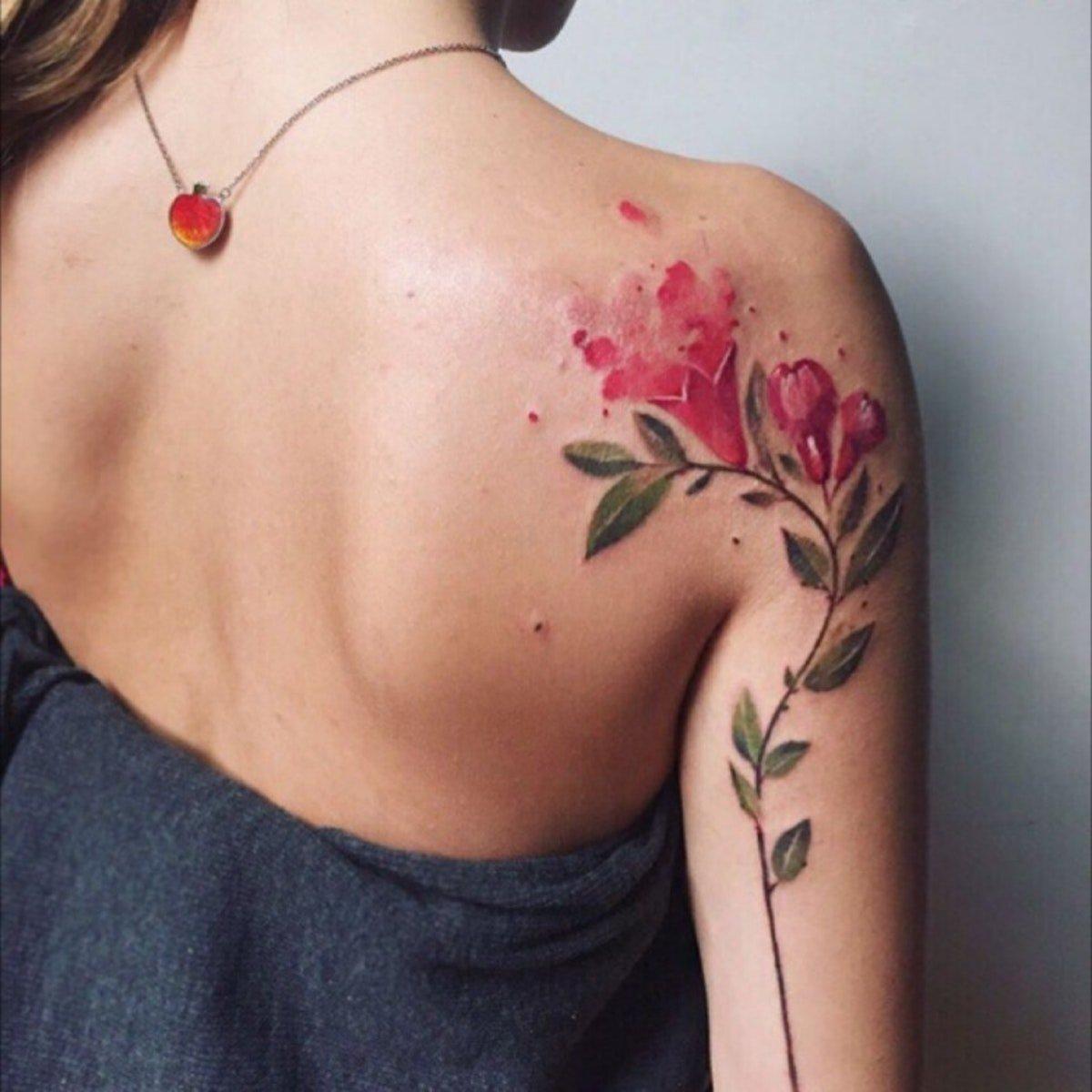 watercolor tattoo flower - 750×772
