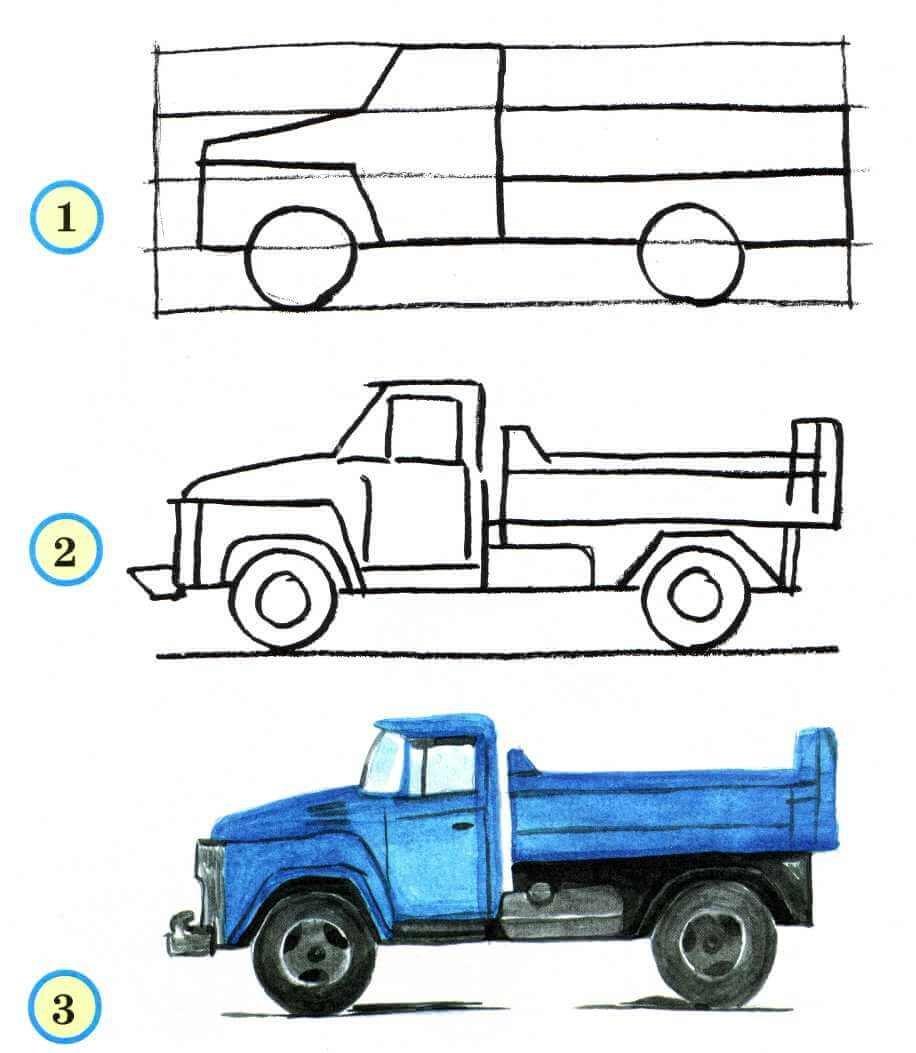 Открытки, как нарисовать машинку в картинках