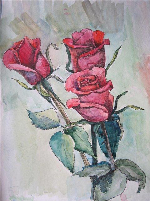Букет из 15 роз акварелью поэтапно, заказ