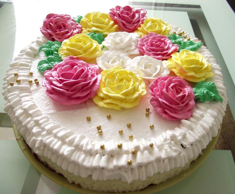инфекции белковый крем цветы украшение торт фото одном