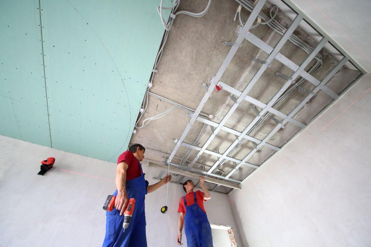монтаж потолка из гкл цена