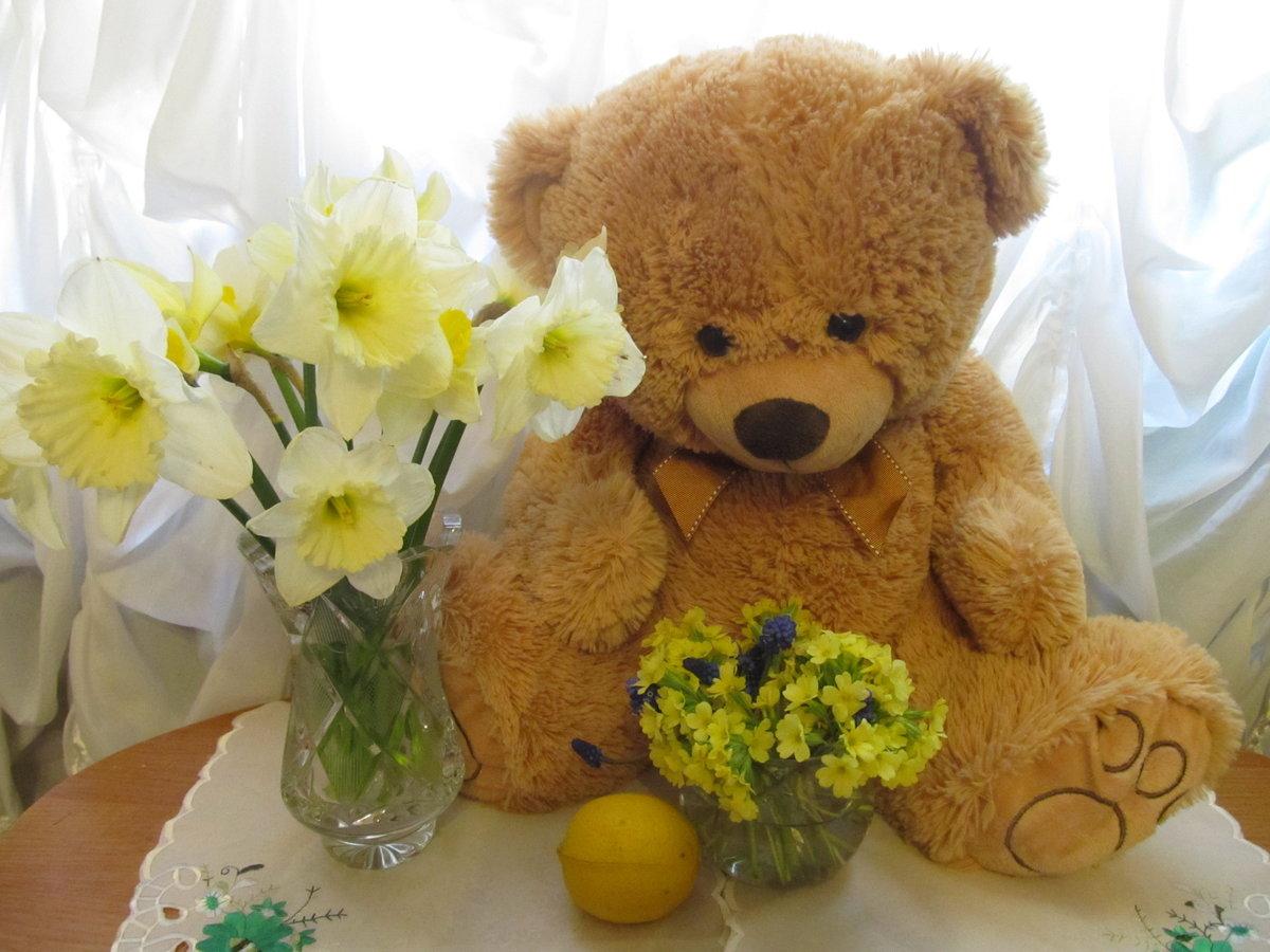 Картинки медвежат с цветами, открытки