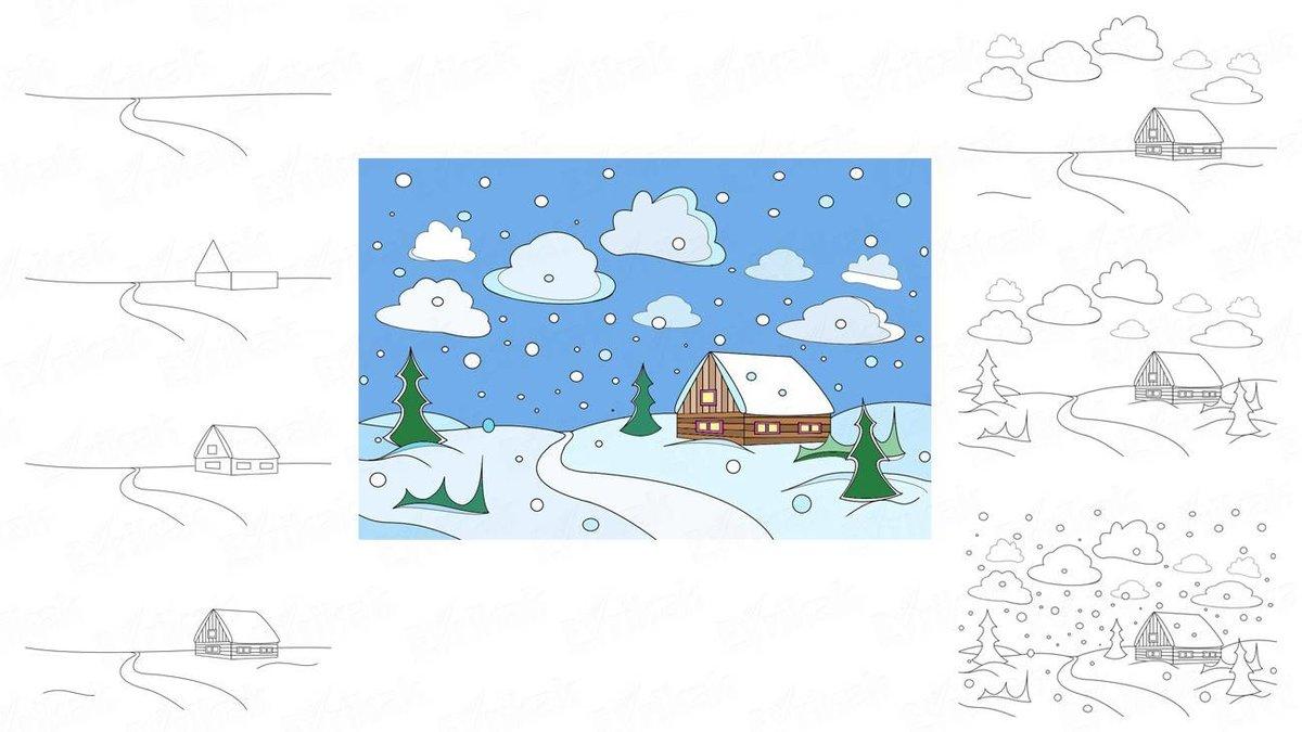 картинки про зиму поэтапно еще