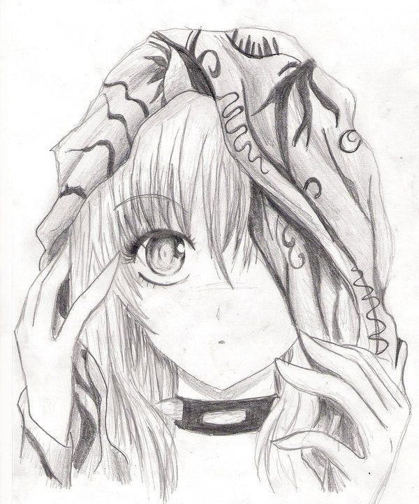 Картинки аниме в карандаше в капюшоне