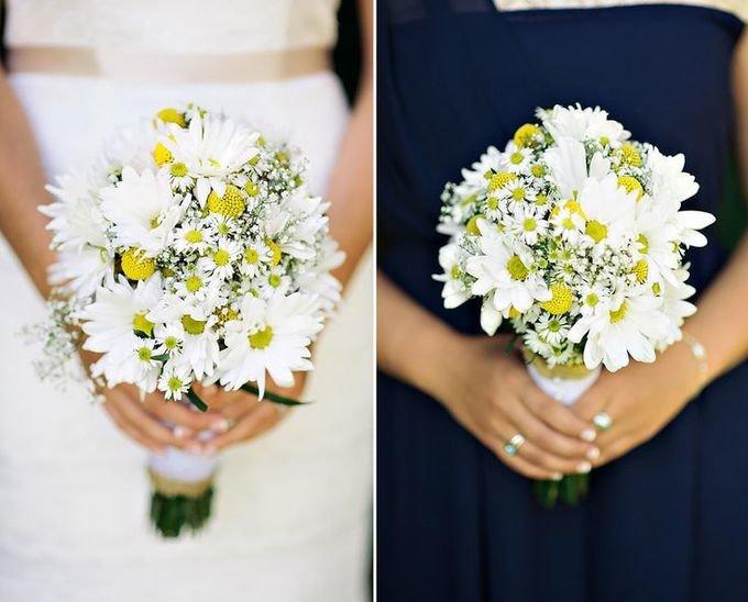Любовный букет из ромашек свадебный