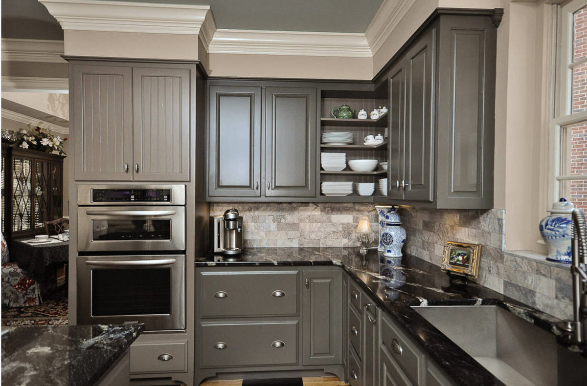 Antique Grey Kitchen Cabinets And Decor