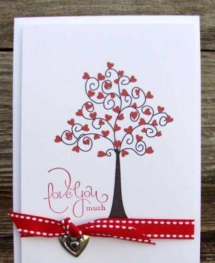 Сделать бабушке, открытка дерево с сердечками своими руками