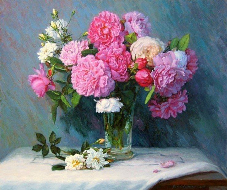 Картинки цветы натюрморт, своими руками