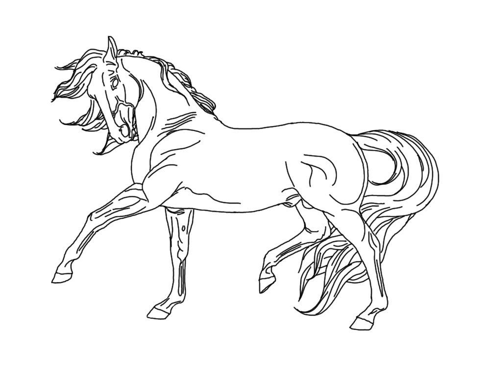 Лошади картинка раскраска распечатать в прыжке