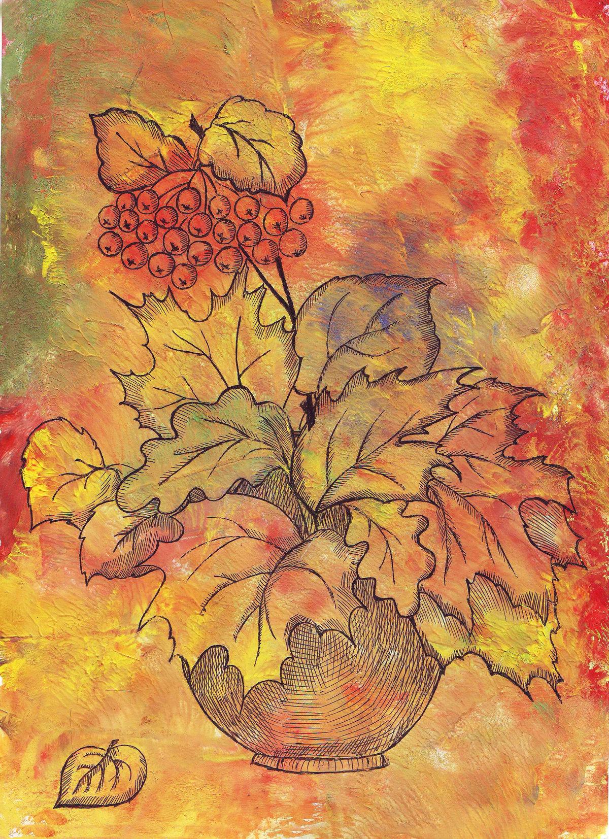 Днем, открытка на тему осень нарисовать