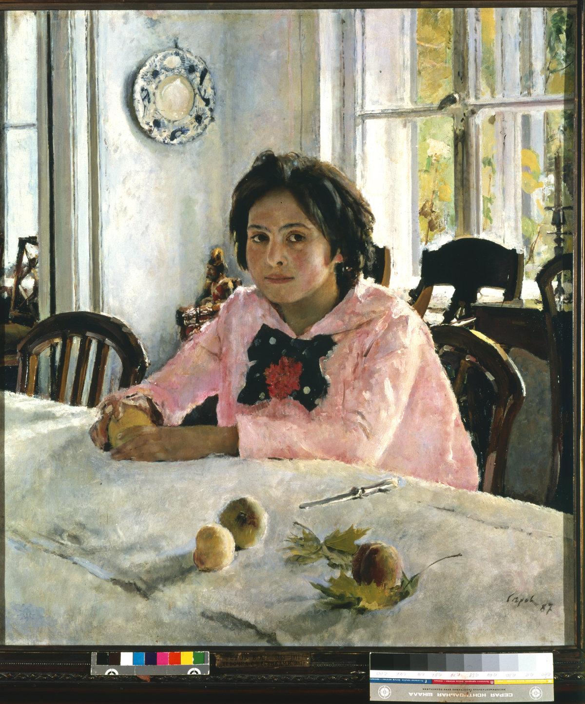 Картинка девочка с персиками, папа открытки