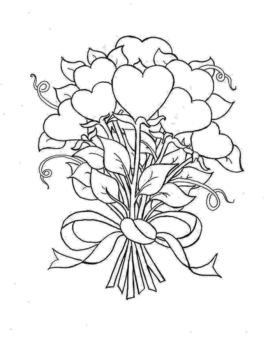 1024, открытка раскраска букет цветов