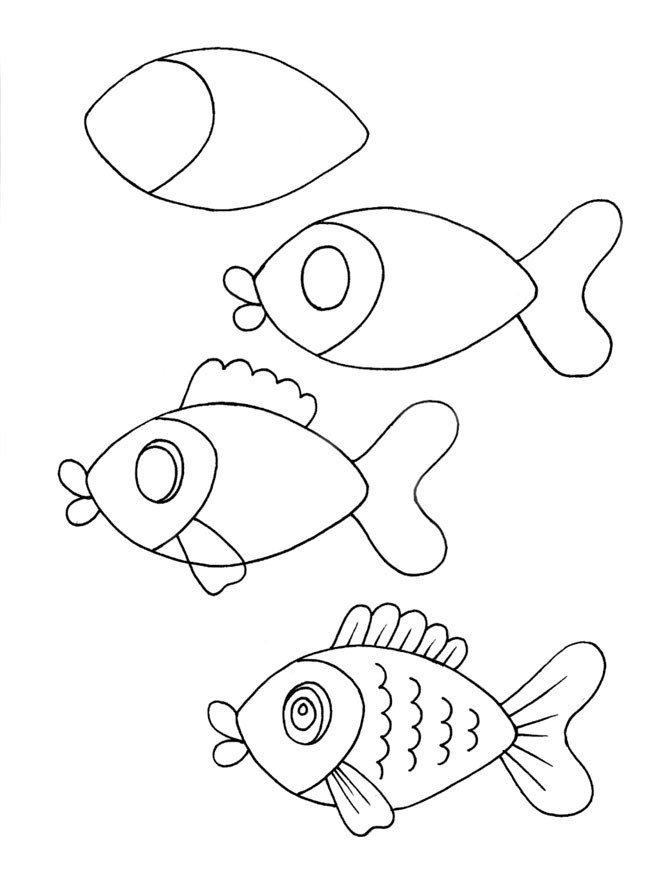 Детские рисунки рыбок карандашом