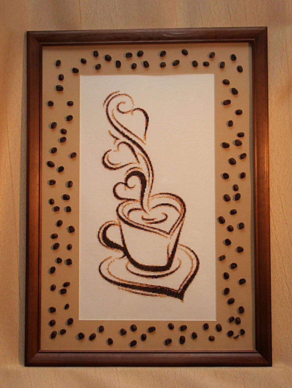 рисунок из зерен кофе на бумаге мировом рынке