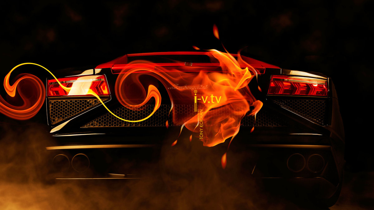 Lamborghini Gallardo Back Fire Abstract Effects Car 2015