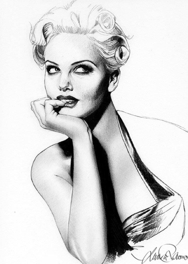 Красивые рисованные картинки черно белые