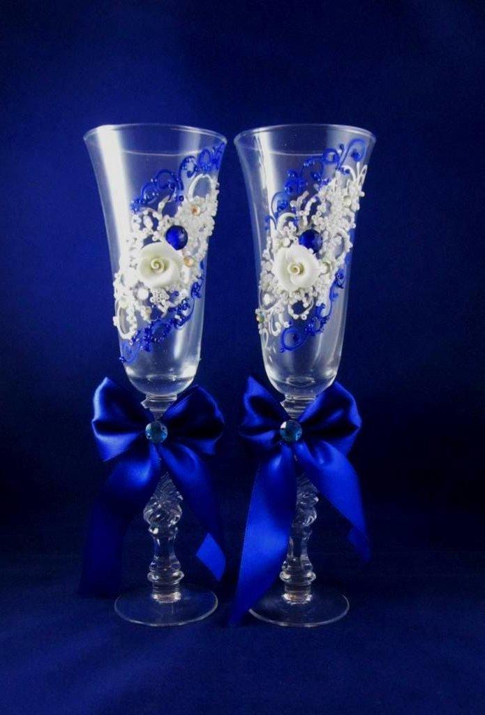 есть такие фото бокалов на свадьбу ручной работы создания отделки одном