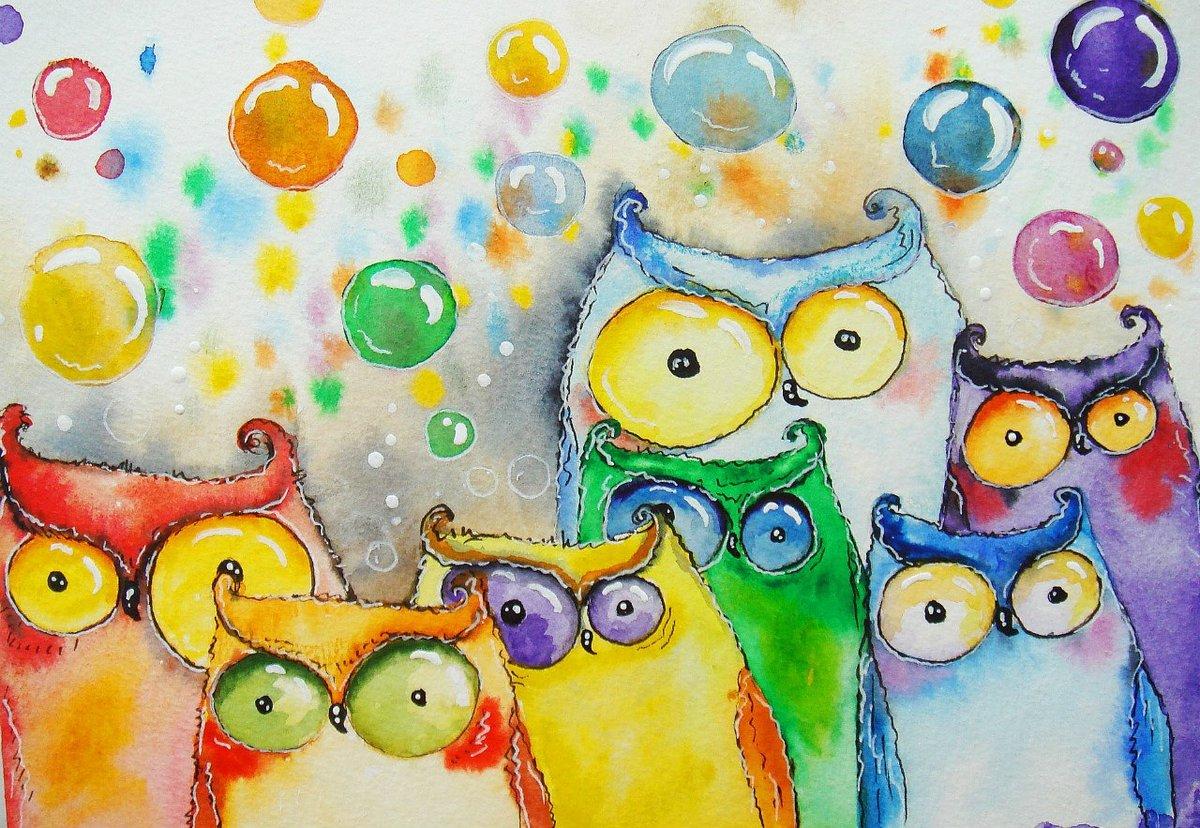 Рождением, смешной кот рисунок красками
