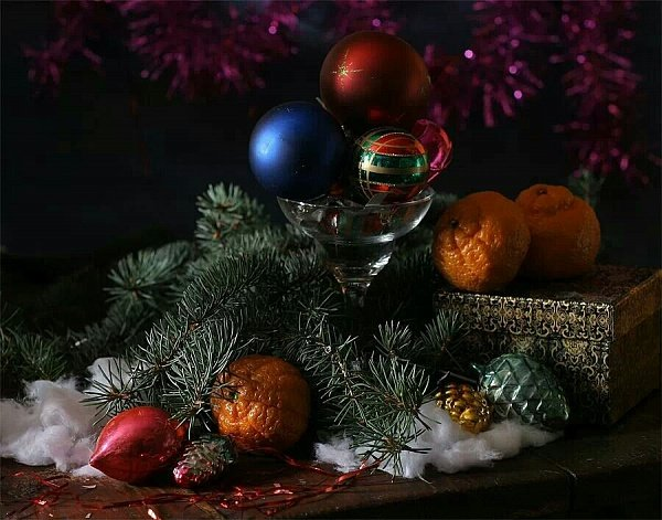 Красивая зимняя композиция для фотонатюрморта