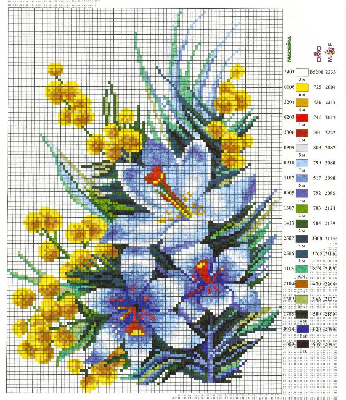 Вышивка крестом цветы открытки
