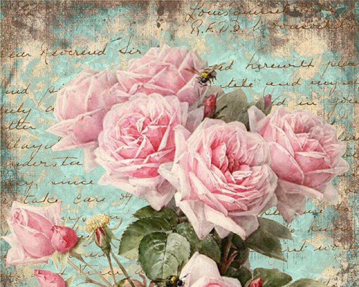 Ретро открытка с пионами