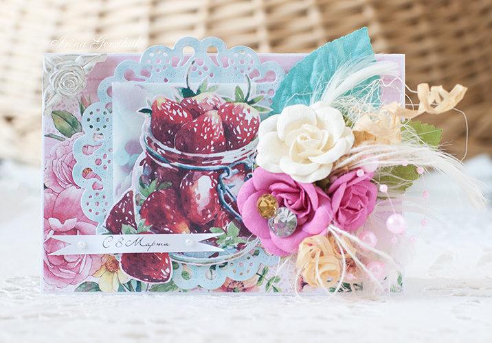 Открытка со сладостями скрапбукинг