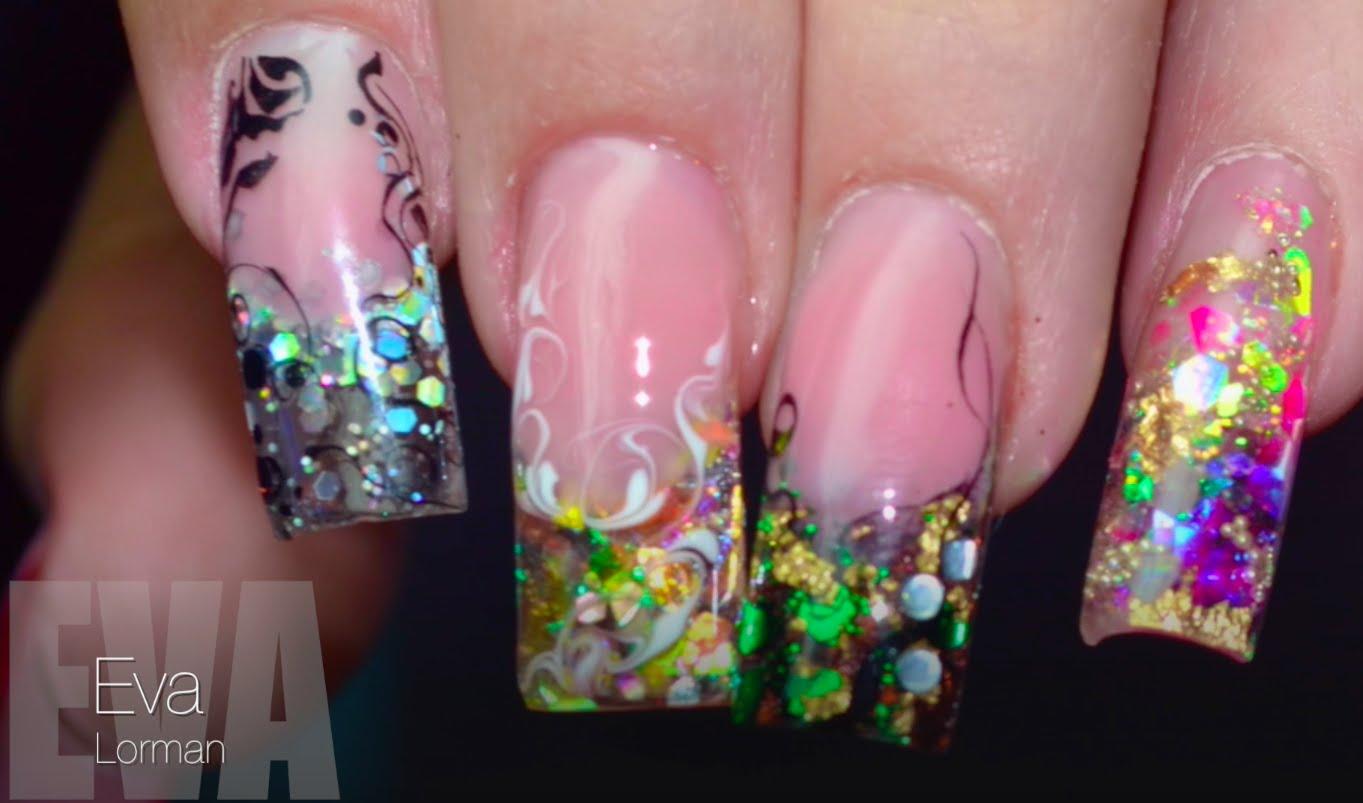 дизайн ногтей с блёстками на гелевых ногтях 2