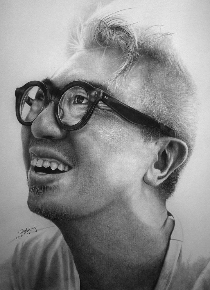 Нарисовать смешное лицо в очках