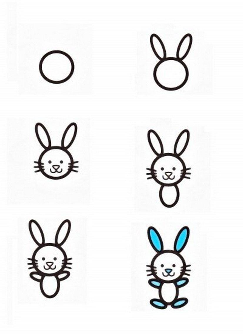 Как рисовать зайца с открыткой