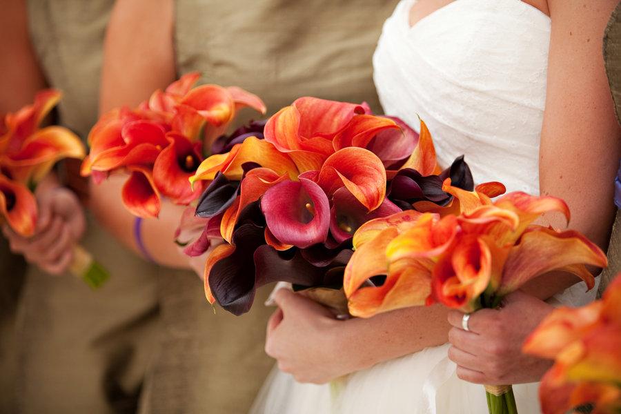 Свадебный букет из рыжих калл своими руками, доставку цветов
