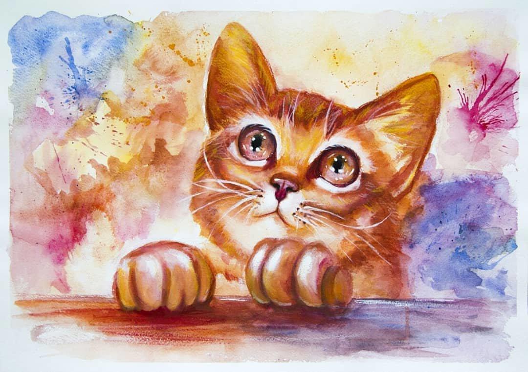 Картинки про рисованных кошек