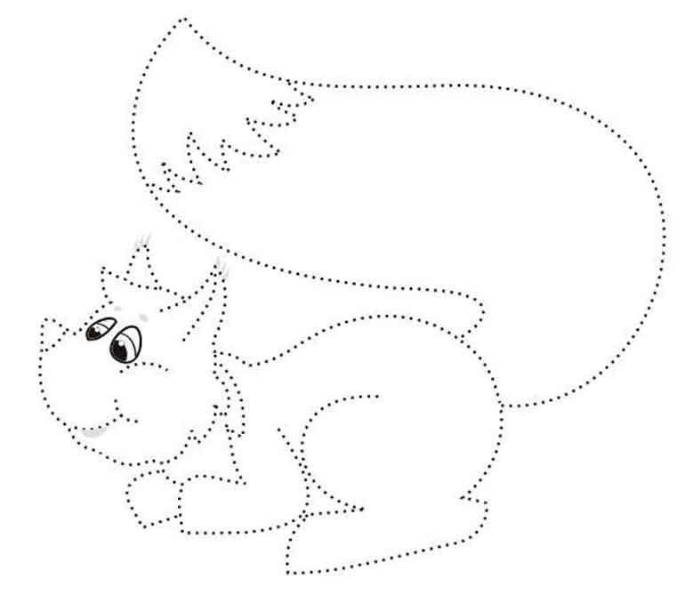 словам кошка пунктирная картинка помощью шумовки