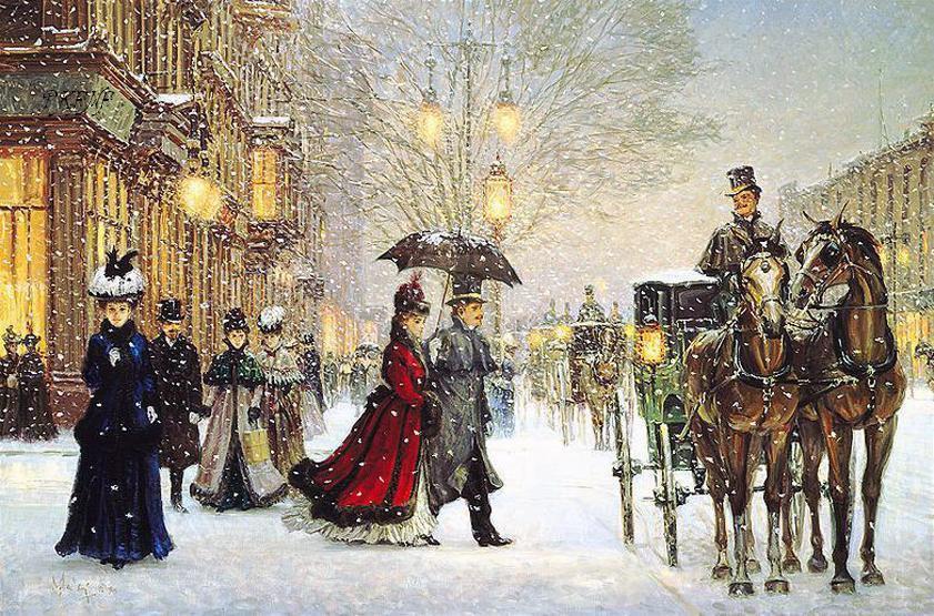 Снежные, старинные картинки зима