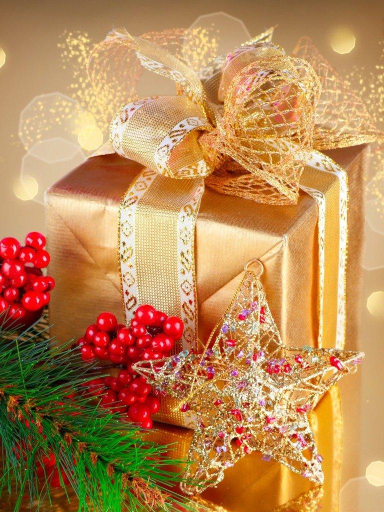 Картинка подарочные новогодние, бумаге