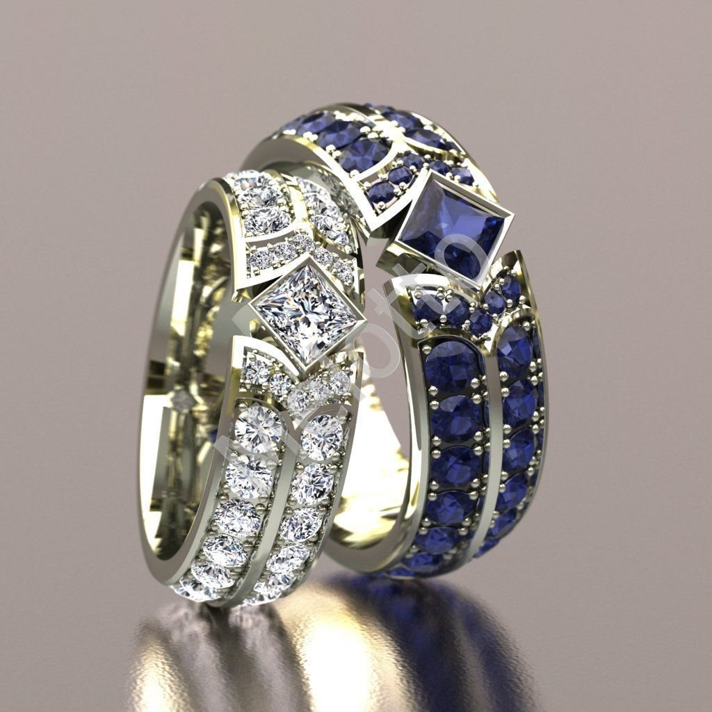 8dd10fbc783d Дорогие обручальные кольца c сапфирами и белыми бриллиантами 420 000 руб.