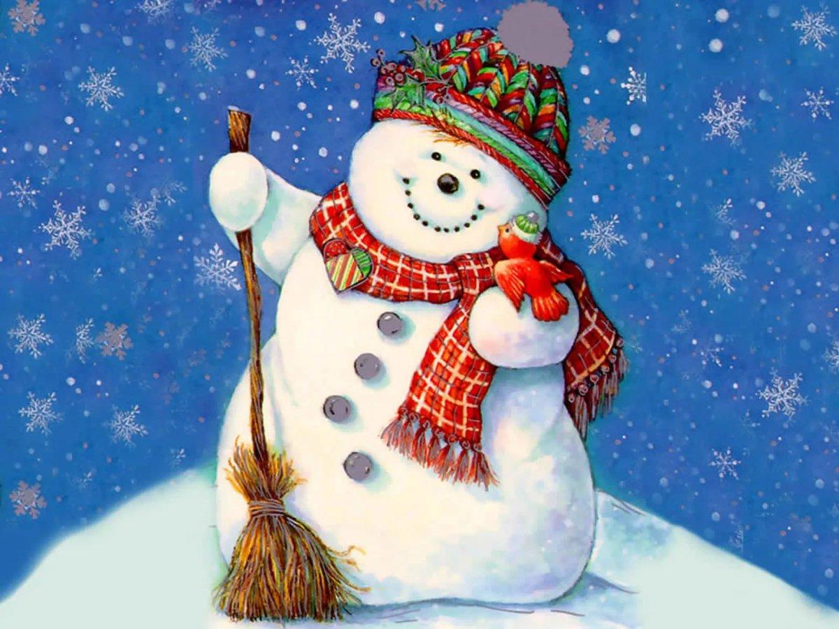 Снеговик открытка на новый, днем рождения сереженька