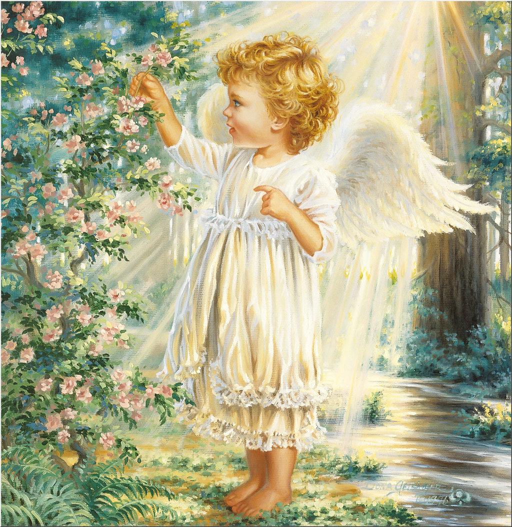 Открытки с ангелочками в день рождения, день купала