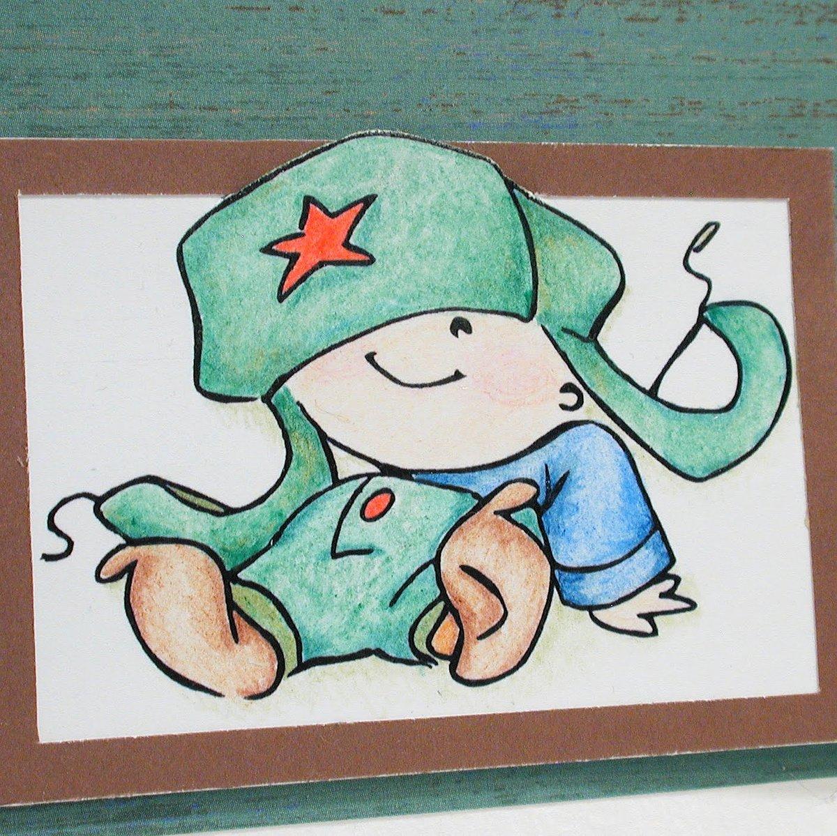 Нарисовать открытку солдат, днем