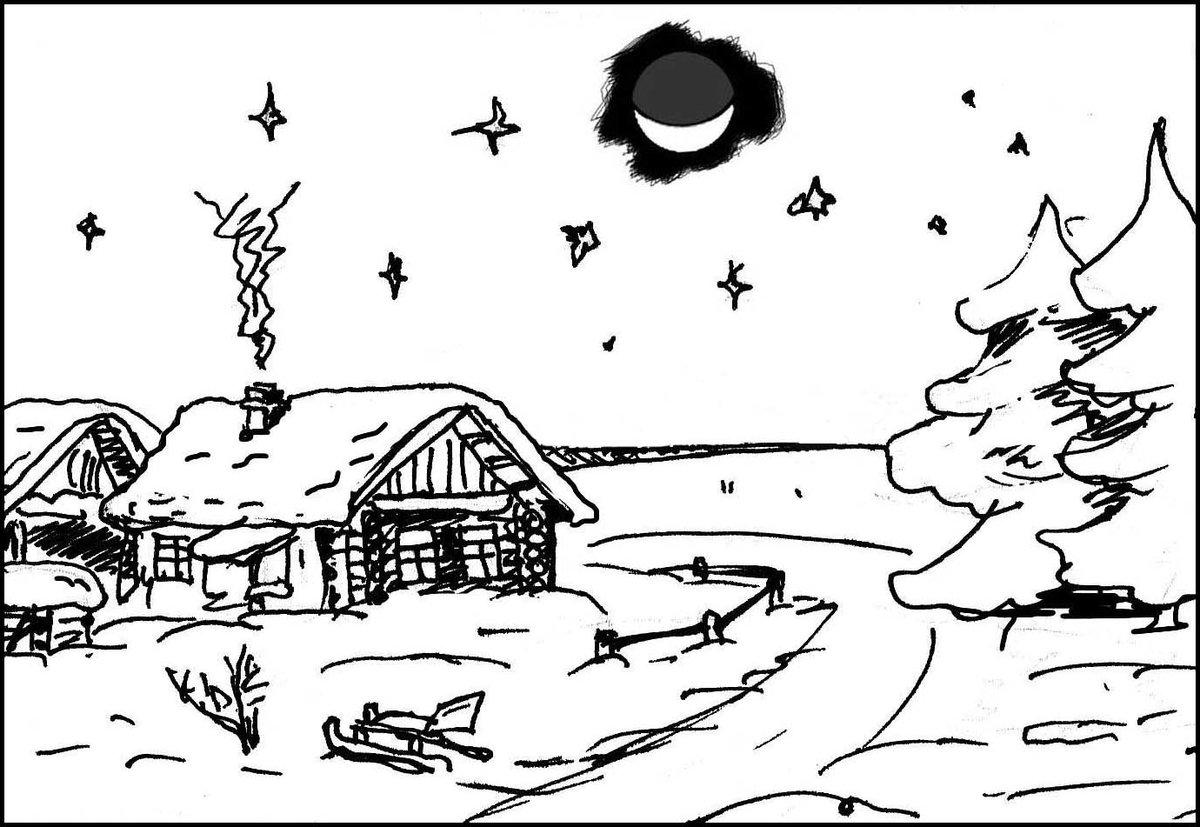 Зима пейзаж контурные картинки
