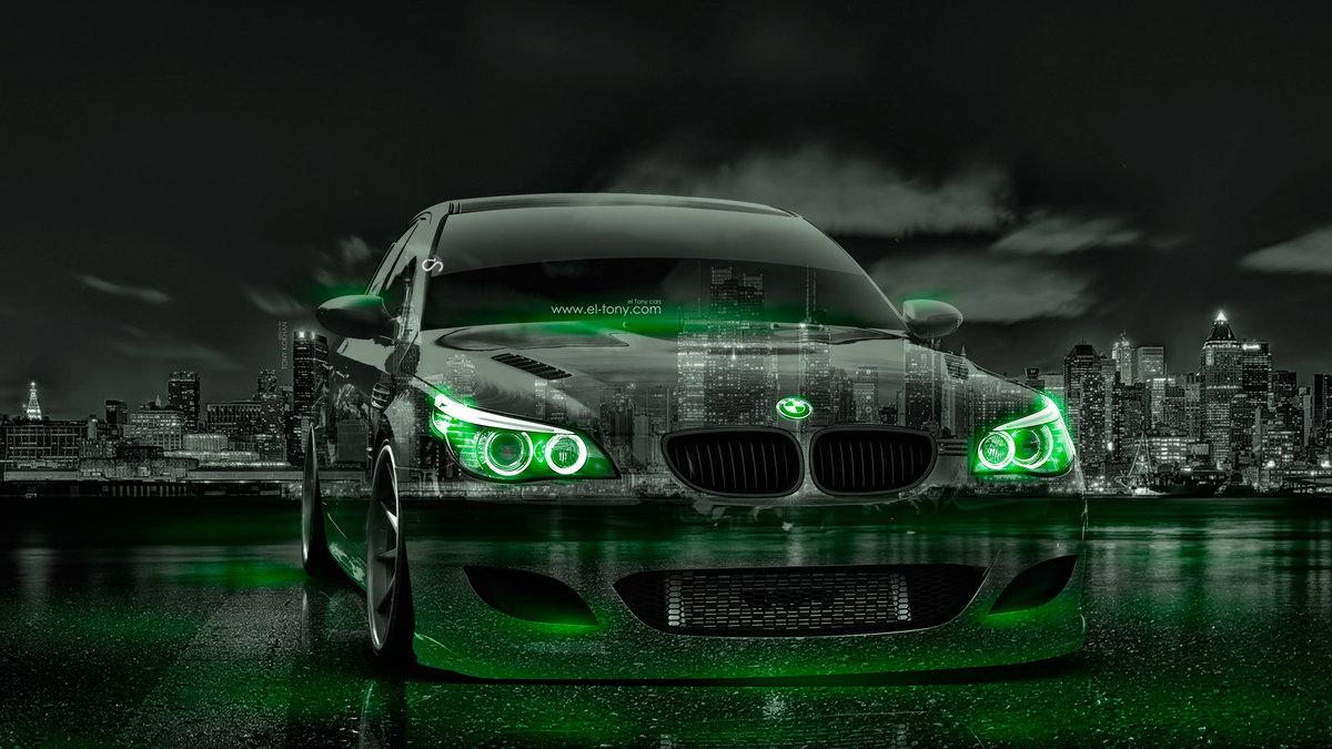 BMW M5 E60 Crystal City Night Neon Art