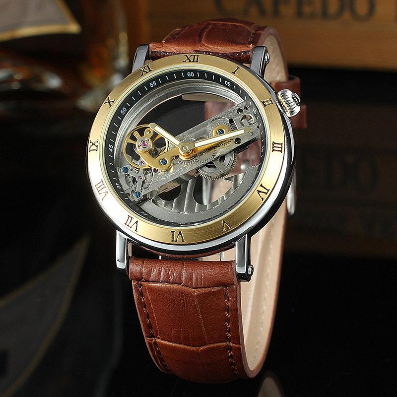 Forsining двойные боковые прозрачные золотой ободок коричневый кожаный ремень для мужчин автоматические часы лучший бренд автоматические часы.