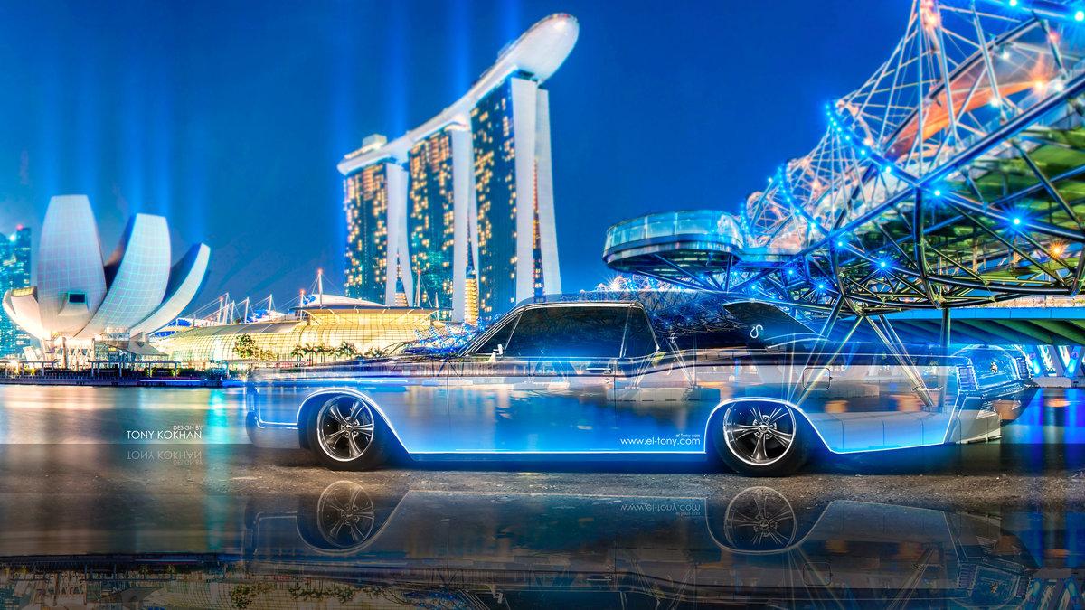 Lincoln Continental Crystal City Night Neon Car 2015 Retro 3d