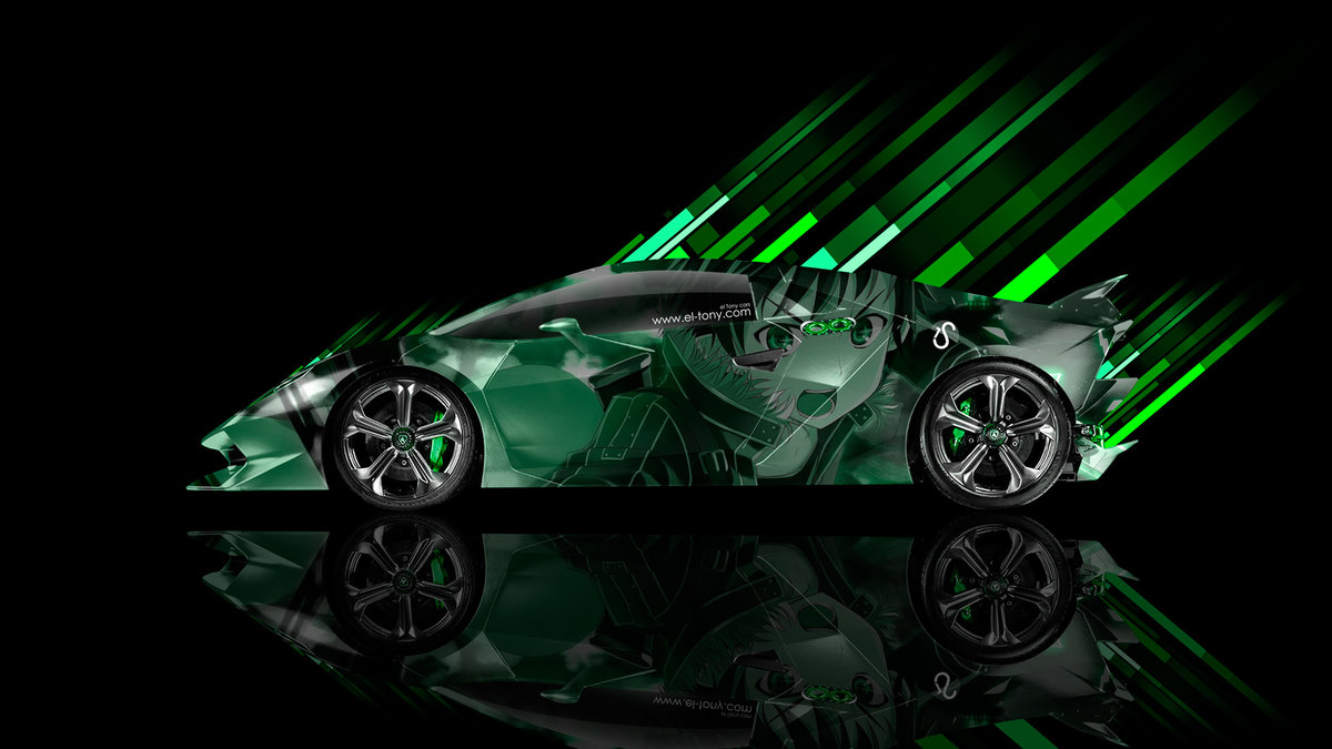 Lamborghini Sesto Elemento Side Anime Aerography Car 2014 Green
