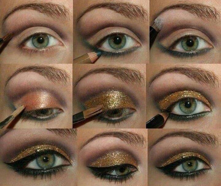 качестве макияж глаз пошаговое фото с блестками базовым наполнением виде