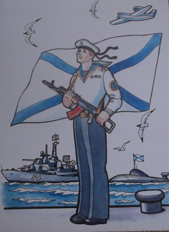 Рисунки моряка карандашом