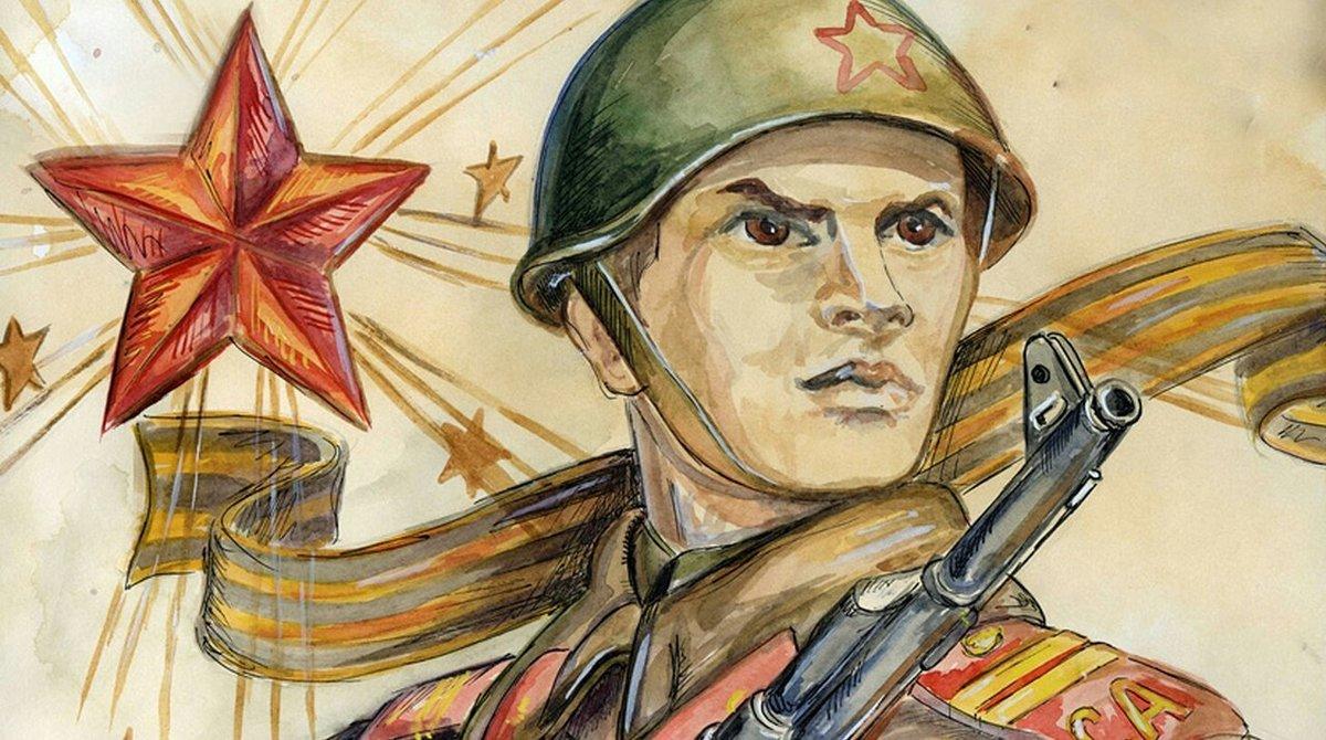 Крокусы, открытка к 9 мая с солдатом